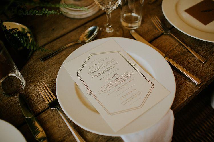 Elegant Place Setting | Feather & Foliage Festival Wedding Weekend at Copse House, Berkshire | Irene Yap Photography | Tanita Cox Films