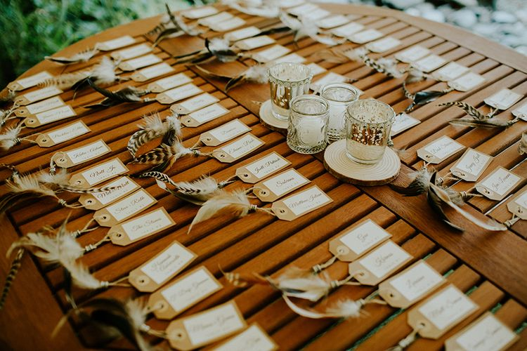 Escort Cards | Feather & Foliage Festival Wedding Weekend at Copse House, Berkshire | Irene Yap Photography | Tanita Cox Films