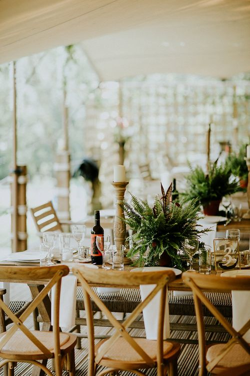 Potted Plant Table Decor | Feather & Foliage Festival Wedding Weekend at Copse House, Berkshire | Irene Yap Photography | Tanita Cox Films