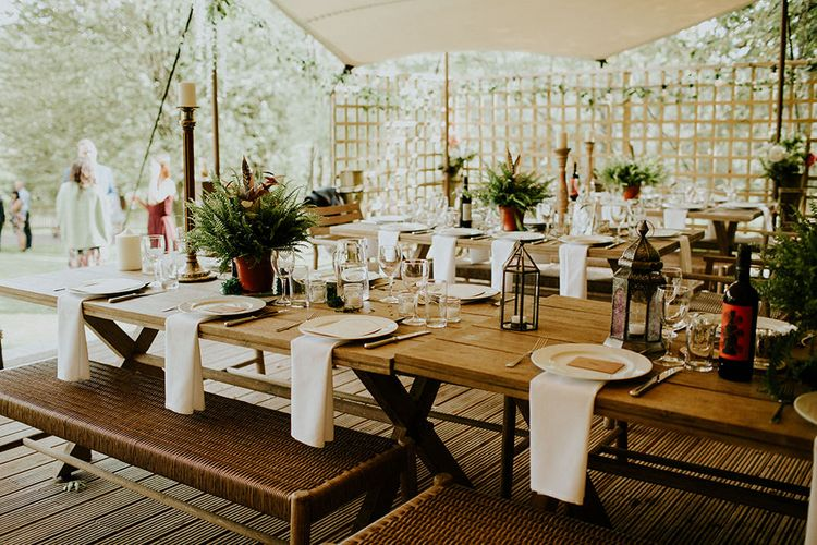 Rustic Tablescape | Feather & Foliage Festival Wedding Weekend at Copse House, Berkshire | Irene Yap Photography | Tanita Cox Films