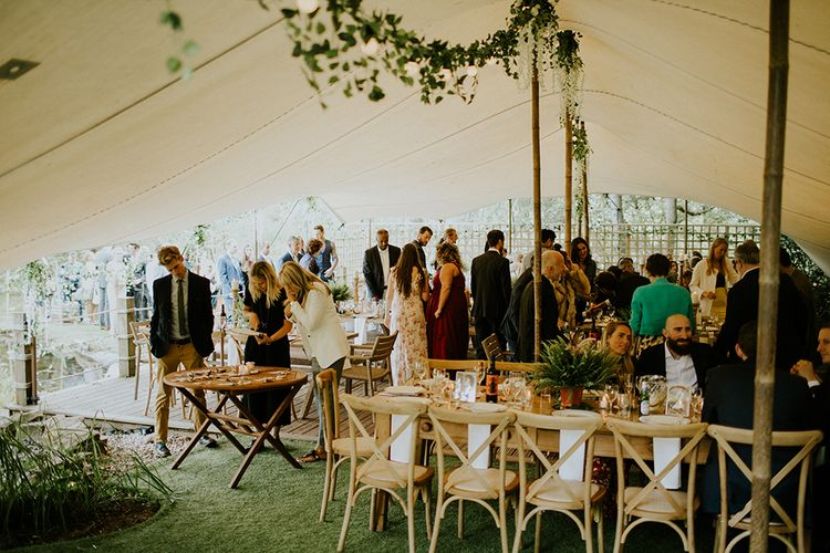 Stretch Tent Reception | Rustic Tablescape | Feather & Foliage Festival Wedding Weekend at Copse House, Berkshire | Irene Yap Photography | Tanita Cox Films