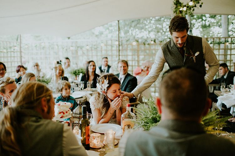 Speeches | Bride in Amanda Thompson Couture Gown | Groom in Reiss Suit | Feather & Foliage Festival Wedding Weekend at Copse House, Berkshire | Irene Yap Photography | Tanita Cox Films