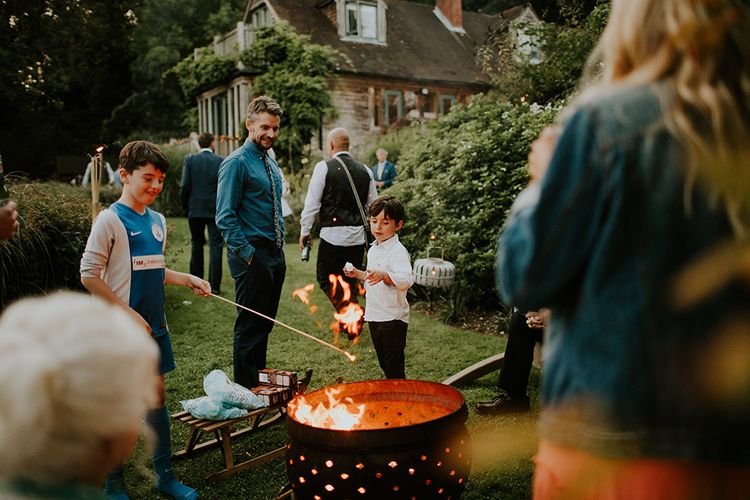 Fire Pit | Feather & Foliage Festival Wedding Weekend at Copse House, Berkshire | Irene Yap Photography | Tanita Cox Films
