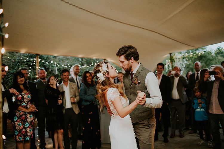 First Dance | Bride in Amanda Thompson Couture Gown | Groom in Reiss Suit | Feather & Foliage Festival Wedding Weekend at Copse House, Berkshire | Irene Yap Photography | Tanita Cox Films