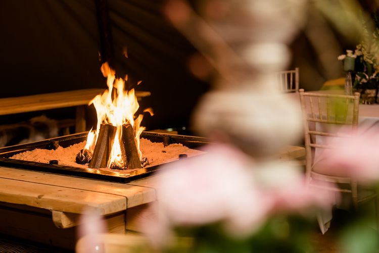 Fire Pit // Teepee Tent Wedding With Romantic Meadow Inspired Styling // PapaKata Spring Open Day // Images By Dominic Wright // Styling By Natalie Hewitt