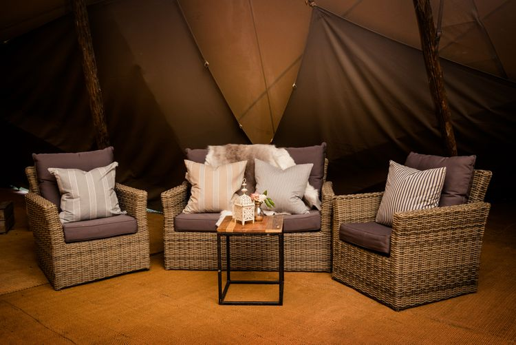 Seating Area For Teepee // Teepee Tent Wedding With Romantic Meadow Inspired Styling // PapaKata Spring Open Day // Images By Dominic Wright // Styling By Natalie Hewitt