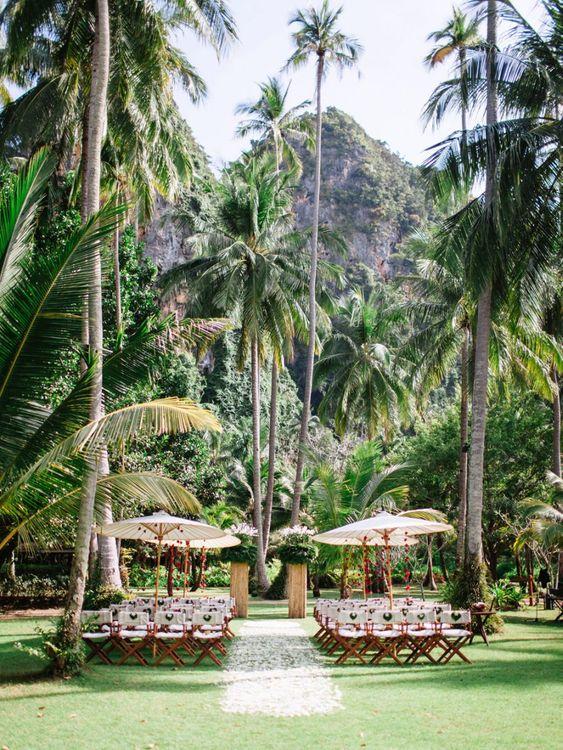 Outdoor tropical wedding ceremony in Thailand