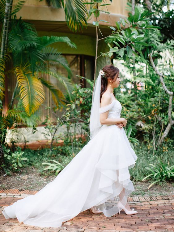 Bride in off the shoulder organza wedding dress