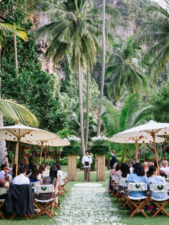 Thailand wedding with petal aisle