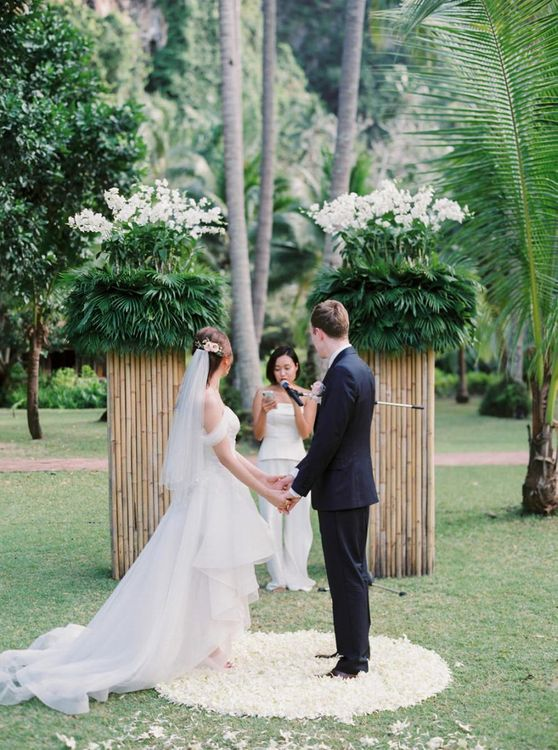 Wedding reading at outdoor wedding ceremony