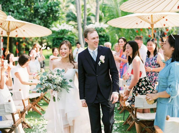 Bride and groom just married at Thailand wedding