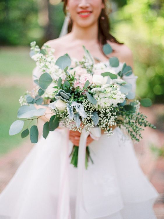 White and green wedding bouquet for tropical wedding