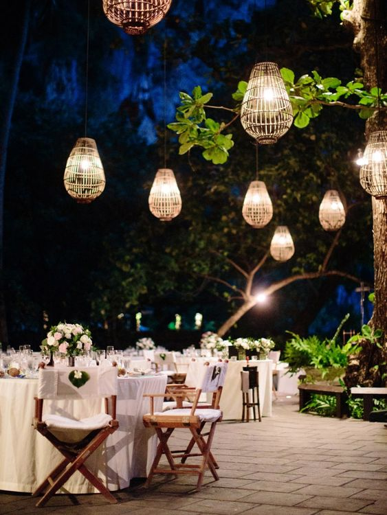 Outdoor lighting at tropical Thailand wedding