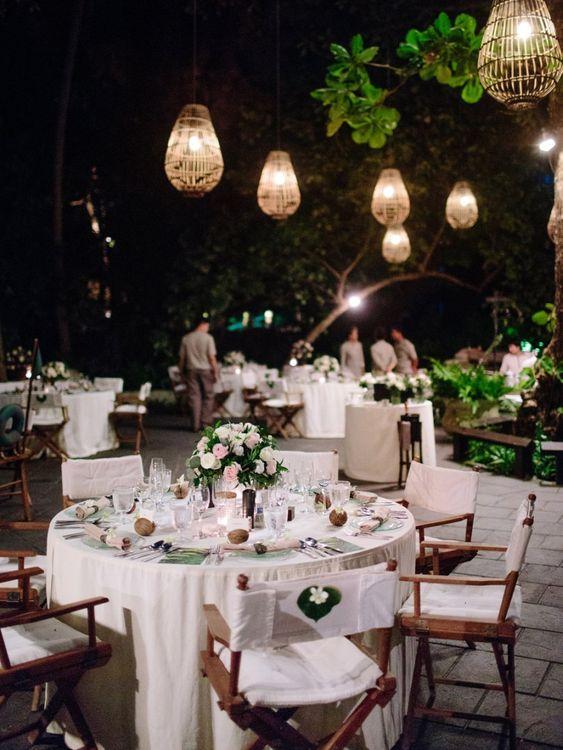 Outdoor wedding reception at tropical wedding in Thailand
