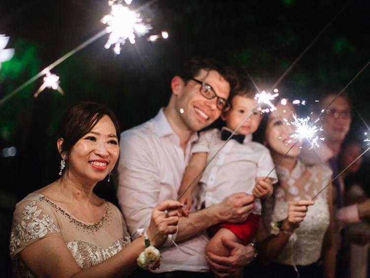 Sparkler moment at Thailand wedding