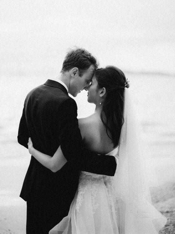 Intimate black and white wedding portrait