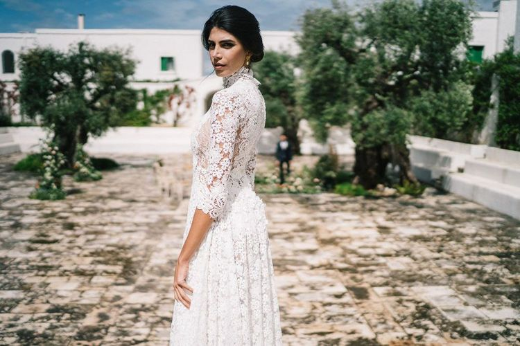 Elegant Bride in Lace Andrea Sedici Wedding Dress