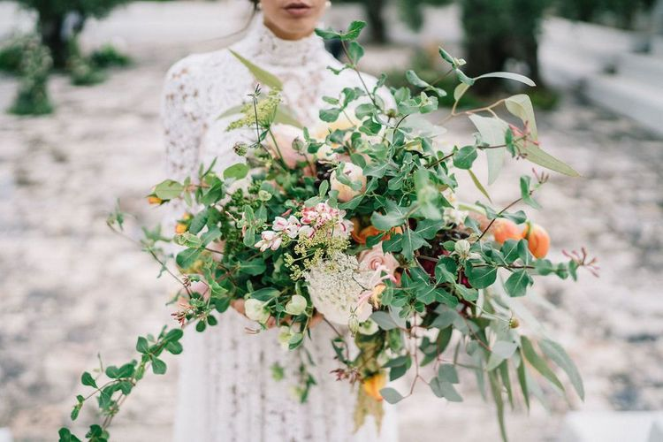 Oversized Romantic Wedding Bouquet with Foliage and Blush Flowers