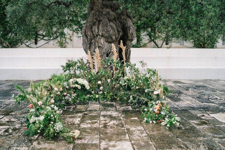 Semi Circle Floor Wedding Flowers