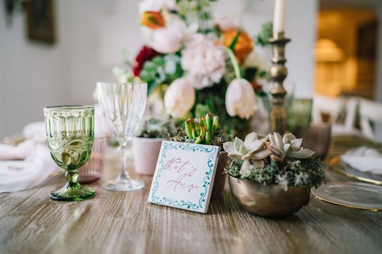 Succulent Wedding Flowers and Ceramic Tile Table Name Decor