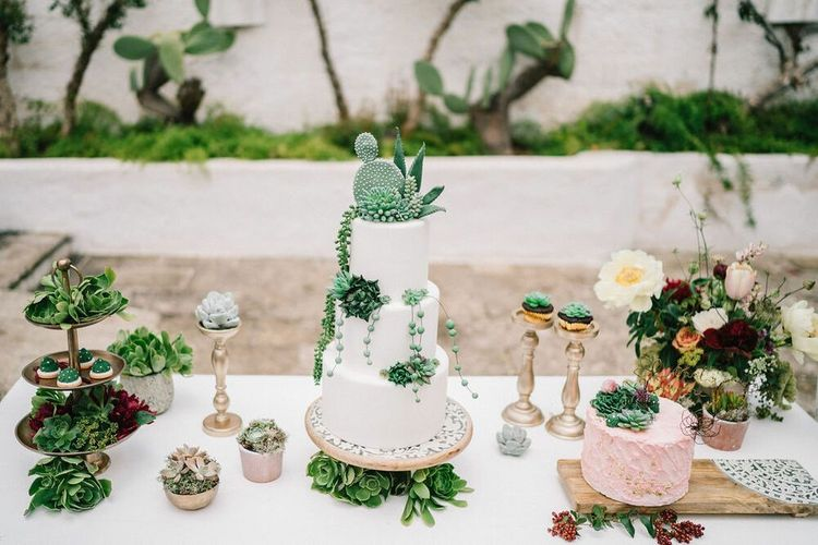Dessert Table with Succulent Wedding Cake and Plant Decor