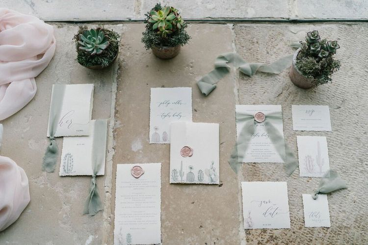 Succulent and Cactus Wedding Stationery Suite Tied with Ribbon and Wax Seals