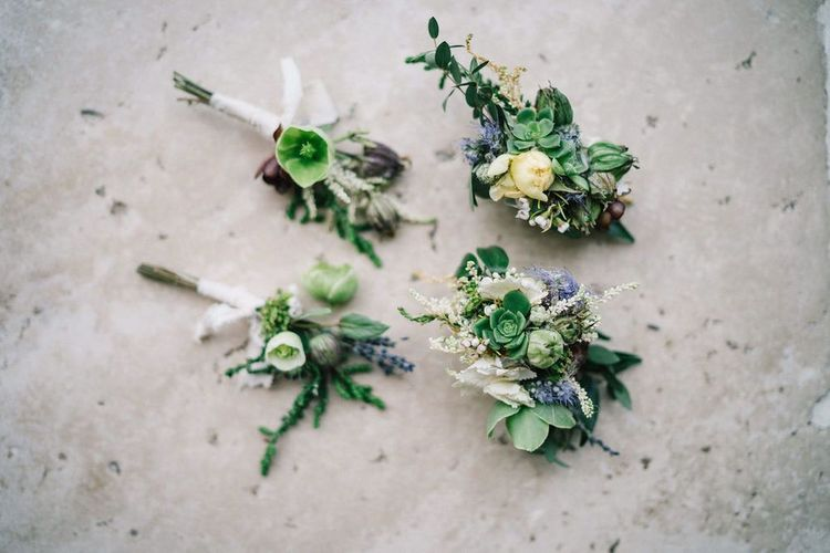 Green Buttonholes with Succulents