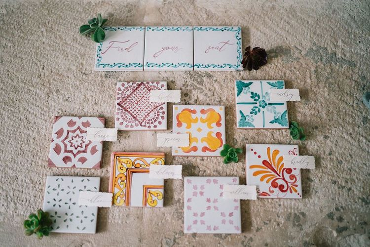 Ceramic Tile Table Plan and Escort Cards