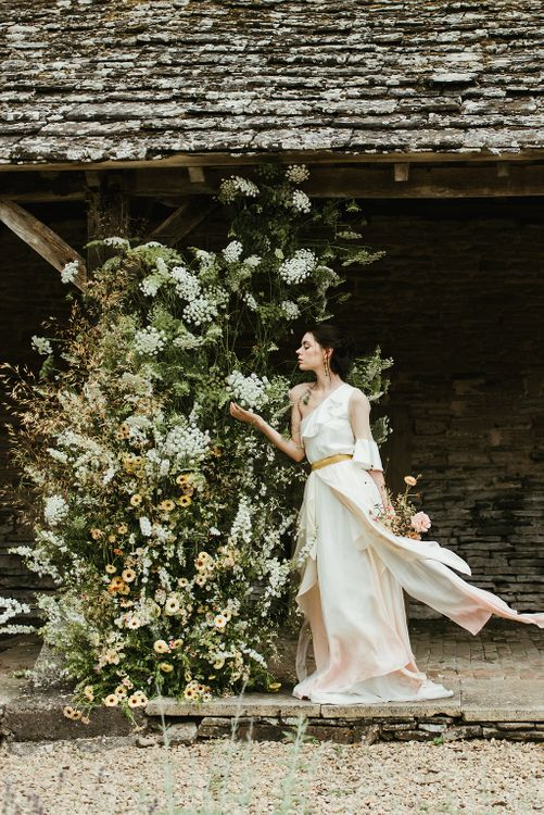 Bride In Jessica Turner Designs Dress // Broadfield Court Romantic Wedding Venue Styled By Kate Cullen Fine Art Bridal Style Images By Georgina Harrison Photography