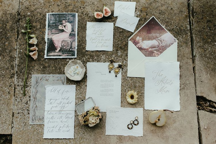 Fine Art Wedding Stationery // Broadfield Court Romantic Wedding Venue Styled By Kate Cullen Fine Art Bridal Style Images By Georgina Harrison Photography