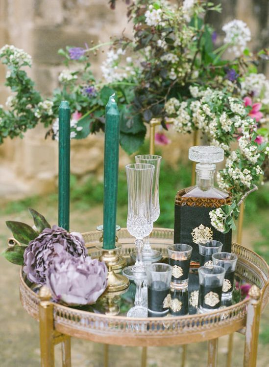 Gold Drinks Trolly and Cut Glass Decanter with Romantic Wedding Flowers