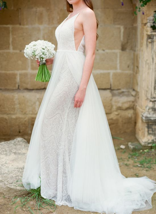 Bride in Sparkly Wedding Dress with Tulle Overlay
