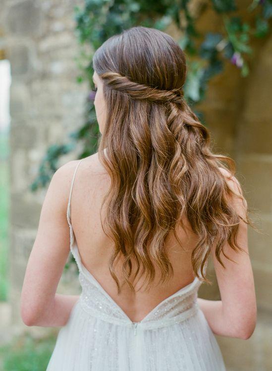 Love V Back Wedding Dress and Half Up Half Down Wedding Hair Style