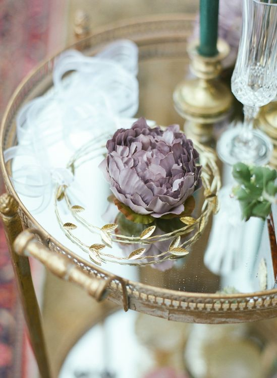 Gold Crown on Gold Drinks Trolley with Fake Purple Flower