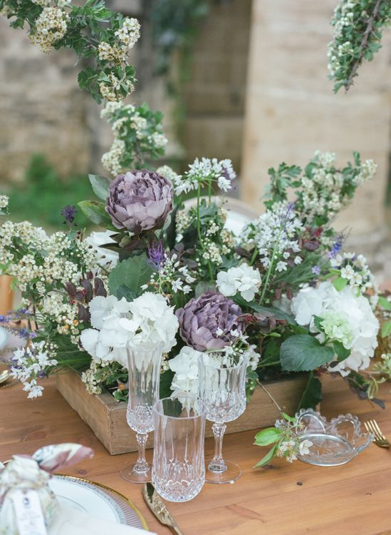 Wooden Crate Floral Centrepiece of White Hydrangeas, Purple Peonies and Foliage