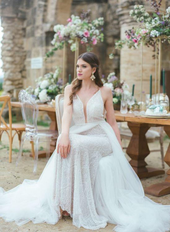 Bride in Sparkly Gala Montenapoleone Wedding Dress