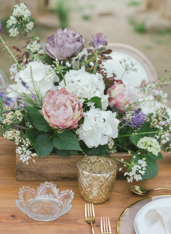 Wooden Crate Floral Centrepiece of White Hydrangeas, Pink & Purple Peonies and Foliage
