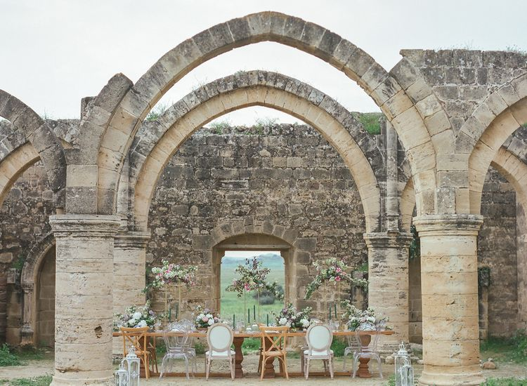 Agios Sozomenos Church Ruins in Cyprus with Beautiful Romantic Tablescape