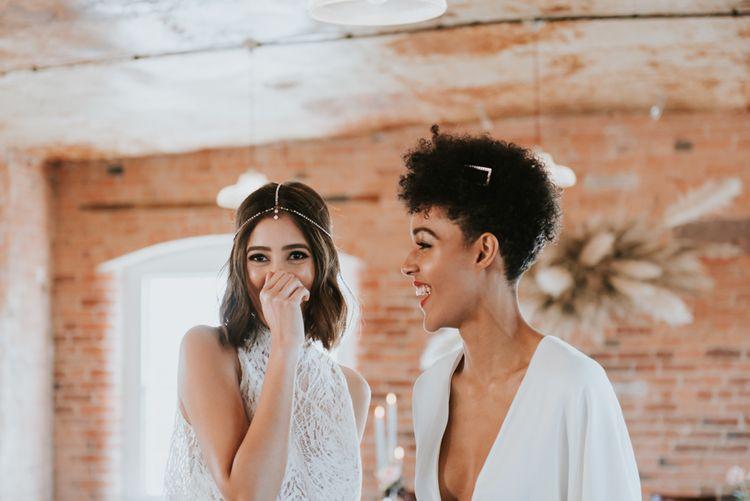 Stylish brides at minimalist The West Mill wedding venue