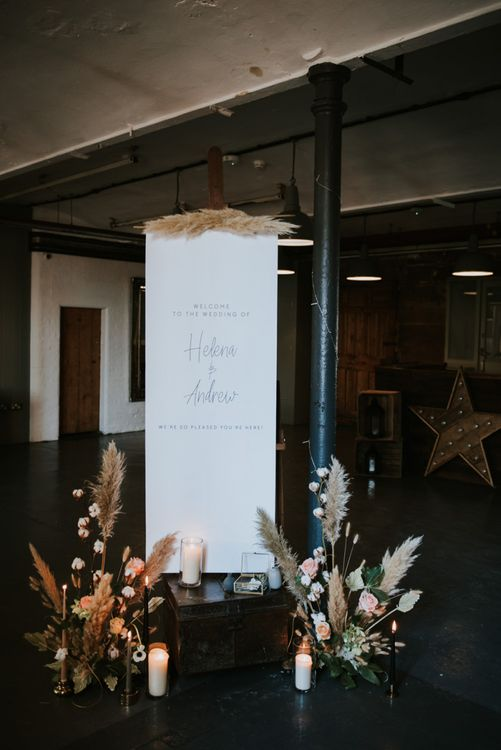 Minimalist wedding welcome sign