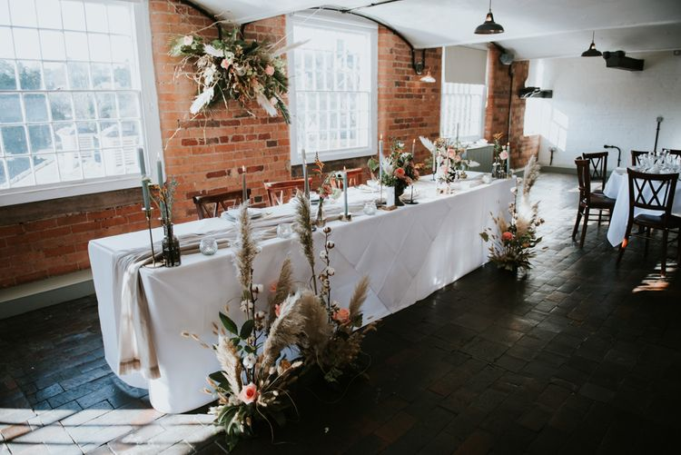 Minimalist table decor at The West Mill wedding venue in Derbyshire