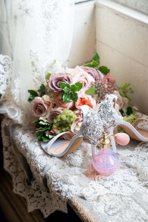 Blush Pink, Peach & Lilac Rose Wedding Bouquet   Jewel Encrusted Bridal Shoes   Timeless Romance at Country House West Horsley Place, Surrey   Planned by Rachel Dalton Weddings   David Wheeler Photography