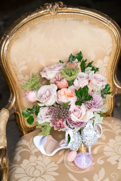 Blush Pink, Peach & Lilac Rose Wedding Bouquet   Timeless Romance at Country House West Horsley Place, Surrey   Planned by Rachel Dalton Weddings   David Wheeler Photography