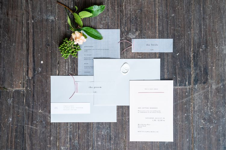 Georgina Read Creative Wedding Stationery Suite   Timeless Romance at Country House West Horsley Place, Surrey   Planned by Rachel Dalton Weddings   David Wheeler Photography