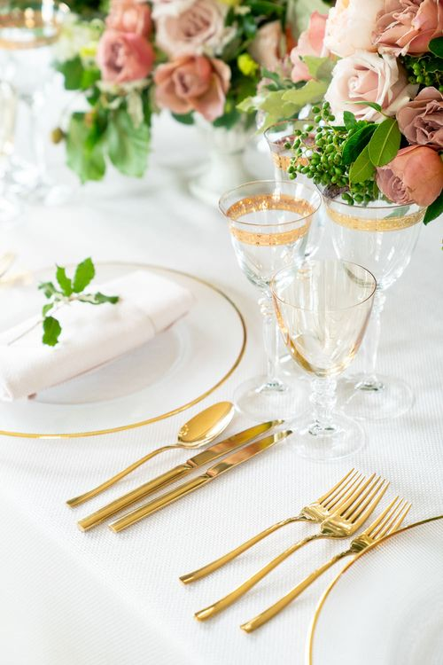 Elegant Place Setting with Gold Cutlery & Tableware   Timeless Romance at Country House West Horsley Place, Surrey   Planned by Rachel Dalton Weddings   David Wheeler Photography
