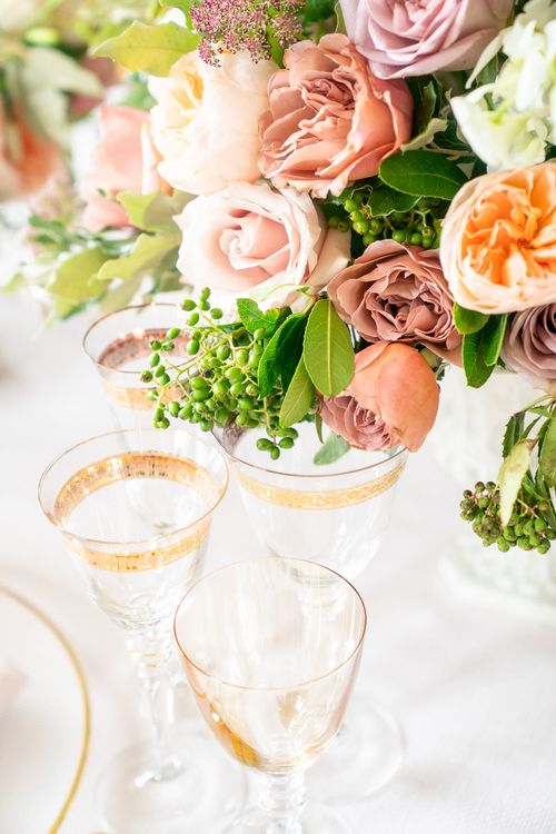 Elegant Place Setting with Blush Rose Floral Centrepieces by Emma Soulsby Flowers   Timeless Romance at Country House West Horsley Place, Surrey   Planned by Rachel Dalton Weddings   David Wheeler Photography