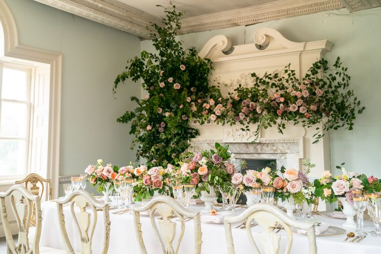 Elegant Tablescape with Blush Rose Floral Arrangements by Emma Soulsby Flowers   Timeless Romance at Country House West Horsley Place, Surrey   Planned by Rachel Dalton Weddings   David Wheeler Photography