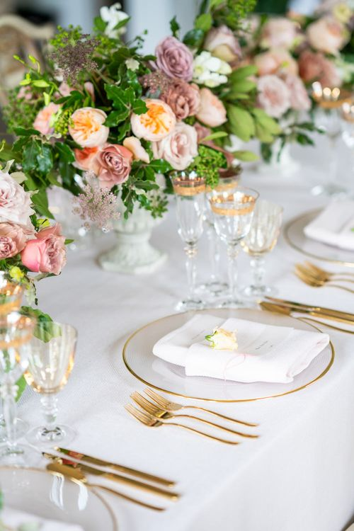 Elegant Place Setting with Gold Tableware & Blush Floral Centrepieces   Timeless Romance at Country House West Horsley Place, Surrey   Planned by Rachel Dalton Weddings   David Wheeler Photography