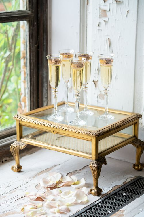 Gold Rimmed Champagne Flutes   Timeless Romance at Country House West Horsley Place, Surrey   Planned by Rachel Dalton Weddings   David Wheeler Photography