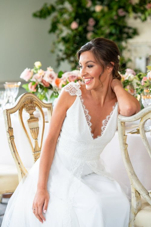Bride in Lace Caped Sleeve Bridal Gown    Timeless Romance at Country House West Horsley Place, Surrey   Planned by Rachel Dalton Weddings   David Wheeler Photography
